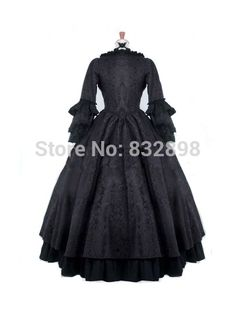Free Shipping Black Gothic Antoinette Style Victorian Ball Gowns Victorian Bustle Dress