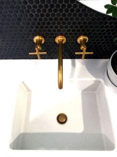 Penny Round Porcelain Mosaic, Matte Black II home decor I white & gold Bathroom Renos, Bathroom Faucets, Master Bathroom, Bathroom Renovations, Bathroom Cabinets, Bathroom Storage, Bathroom Ideas, Penny Round Tiles, Penny Tile