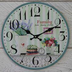 Shabby Round Wooden Blue Green Stripe Floral FAITH FAMILY FRIENDS Wall Clock   eBay
