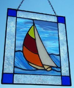 Summer Regatta Sailboat Stained Glass by SunflowerGlassworks, $45.00