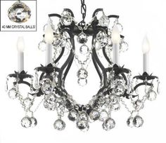 """Black Wrought Iron Crystal Chandelier Lighting H 19"""" W 20"""" Dressed With Feng Shui 40Mm Crystal Balls! - A83-B6/3530/6"""