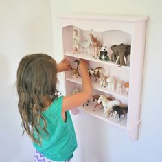 Schleich Storage Idea - trinket shelf painted Cadillac Pink via house and bloom