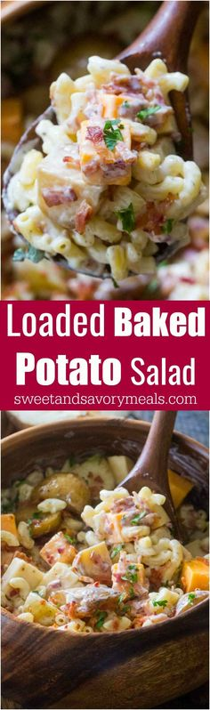 Loaded Baked Potato Salad is the perfect meal to bring to a potluck or to make for a party! Delicious, packed with baked potatoes, cheese and bacon! #salad #bakedpotato #potluck #macaroni #sidedish