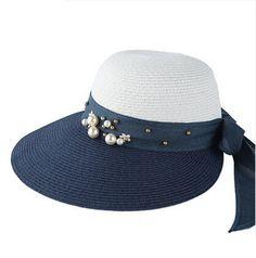 Fashion bow straw hat for summer beach UV package sun hats wide brim