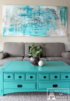 Blue, teal, turquoise, silver, calming and soothing colors for living room wall decor. Beautiful abstract piece of art!