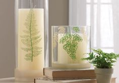 Martha Stewart Crafts Ferns Silkscreen Candle Votives