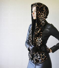 Black brown giraffe print hood scarf scoodie wrap on Etsy, $25.00