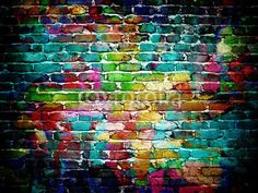 Wall mural graffiti brick wall - graffiti • PIXERSIZE.com