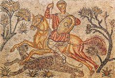 Mosaico Romano, Caza de Pantera, S. IV d.C - Villa Romana de las Tiendas, actualmente en el Museo de Arte Romano de Mérida