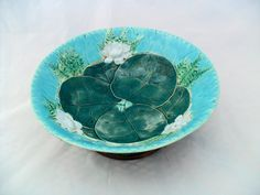 Majolica Lily Pond Footed Bowl 1800s door SparkleUpcycledGoods