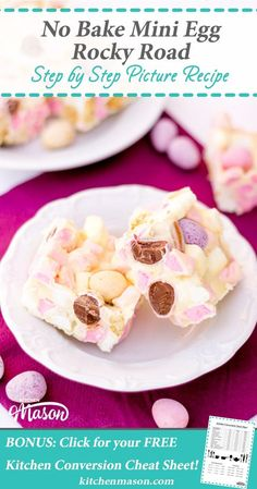 No Bake Mini Egg Rocky Road-Get your hourly source of sweet. Biscuits Brownies, Easy Desserts, Dessert Recipes, Baking Desserts, Party Recipes, Brunch Recipes, Cake Recipes, Gourmet, Deserts