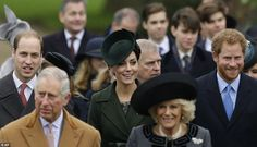 Prince Charles and the Duchess of Cornwall were followed into the service by Prince Harry and the Duke and Duchess of Cambridge