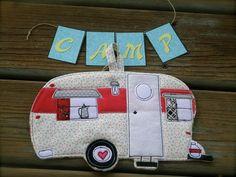 Camping Potholder Vintage Camper Trailer potholder by BSoriginals