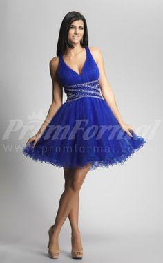 Royal Blue V-neck Short Cocktail Dresses