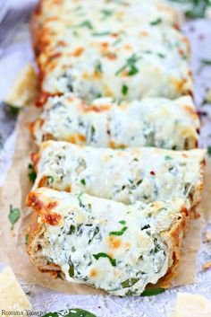 Spinach artichoke dip stuffed bread. Try making with Jimmy John's Day Old French bread for only around 50 cents!