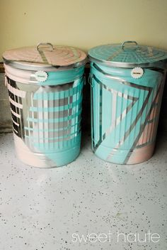 *SWEET HAUTE*: DIY Outdoor Organization: Recycle Bins  .... Add some fun to your recycling bins with a little paint and tape.