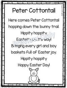 Peter Cottontail | Easter poem for kids | printable | poetry notebook | seasonal poems | song for kids