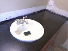 Ok gentleman i have already poured the countertops its been about a month and ive finished my vanity but my question is, i used quickrete 5000 and thats a grey finish concrete. Real Kitchen, Concrete Countertops, Gentleman, Sink, Projects, Home Decor, Sink Tops, Log Projects, Vessel Sink
