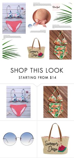 """Rosegal 6 : Floral Swimwear"" by jasmina-fazlic ❤ liked on Polyvore featuring Linda Farrow and Nordstrom"