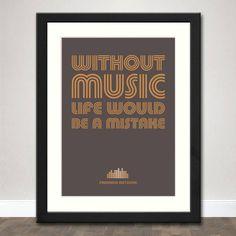 Retro Music Typographic Art Print - Inspired by Friedrich Nietzsche Quote