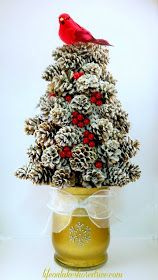 Life on Lakeshore Drive DIY Winter Pine Cone Tree in lightbox Pine Cone Tree, Pine Cone Christmas Tree, Cone Trees, Noel Christmas, Christmas Crafts With Pinecones, Pine Cone Decorations, Christmas Decorations, Pine Cone Crafts, Christmas Arrangements