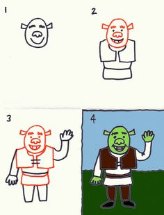 This website has TONS of how to draw pictures for holidays & themes! How to Draw Shrek Easy Art Projects, Projects For Kids, Shrek Drawing, Stick And Poke, Fairytale Art, Holiday Themes, Simple Art, Easy Drawings, Art Lessons