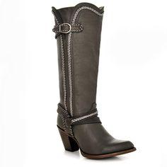 Cuadra Women's Genuine Leather Western Boot Gray