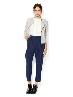 Cropped Pleated Silk Pant