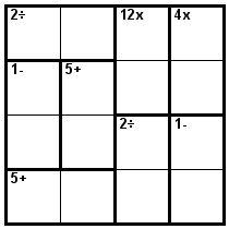 Number Logic Puzzles: 23902 - Kenken size 4