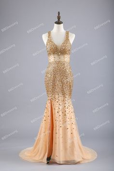 2017 Sexy Long Crystal Beaded Prom Dress With Slit Mermaid Prom Dresses Evening Gown Formal Wear pst1546
