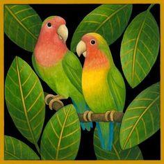 Tropical Art, Tropical Birds, Silk Painting, Watercolor Paintings, Arte Pallet, Bird Drawings, Naive Art, Art Plastique, Animal Paintings