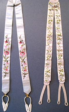 Embroidered Silk Satin Braces, circa 1860 and circa 1890s