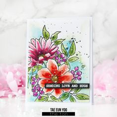 Watercolored Heartfelt Blossoms – The Ton – rainbow in november Cosmos Flowers, Parts Of A Flower, Love Hug, Colorful Flowers, I Card, Card Stock, Floral Design, Blossoms, Stamp