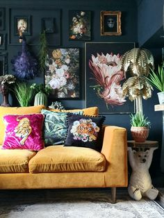 Industrial Vintage Home Decor Living room inspo with gallery wall and mustard sofa.Industrial Vintage Home Decor Living room inspo with gallery wall and mustard sofa Feature Wall Living Room, Living Room Sofa, Home Living Room, Living Room Designs, Cosy Living Room Decor, Bedroom Decor, Mustard Sofa, Mustard Walls, Deco Cool