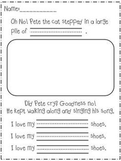 """This is a short writing activity that can be used after reading """"Pete the Cat: I Love My White Shoes.""""  This worksheet could be used to review color words or to make a classroom Book."""