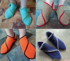 Home Slippers – DIY (these are knitted, but could be crocheted with simple single crochet stitch)