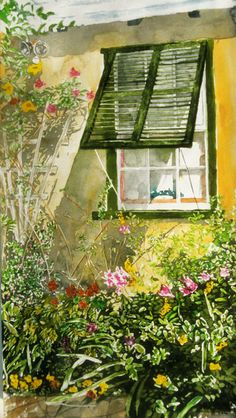 """painted garden  darlings window bda 37"""" x 19""""  micheal zarowsky / watercolour on arches paper / (private collection)"""