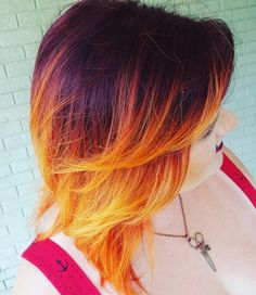 Fire ombre on short hair. Red to orange and yellow ombre. Glowing ombre fire hair #wholelattahair