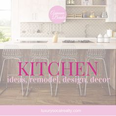 Follow our kitchen board for ideas to remodel with islands, design of cabinets, organization, countertops, pantry, and backsplash.  Find decor, colors, and layout for a farmhouse, rustic, modern, country, or small kitchen.  Peruse dream kitchens and remodeling trends with modern elements curated by: Joy Bender | San Diego Real Estate Agent | Luxury Realtor® #REDigitalMarketing #kitchens #kitchendesign #kitchendesignideas