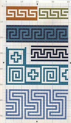 Ornaments and patterns (+oriental) - Monika Romanoff - Picasa Web Albums Tapestry Crochet Patterns, Crochet Art, Mosaic Patterns, Crochet Motif, Crochet Crafts, Knitting Charts, Knitting Stitches, Knitting Patterns, Crochet Diagram