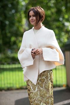 Miroslava Duma in cream & gold #streetstyle