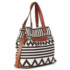 Black, White and Brown Shoulder Bag
