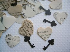 Vintage Wedding - Romantic Vintage Heart Confetti with Keys by ddeforest on Etsy Chic Wedding, Our Wedding, Dream Wedding, Wedding Vintage, Wedding Centerpieces, Wedding Decorations, Centrepieces, Table Centerpieces, Steampunk Wedding