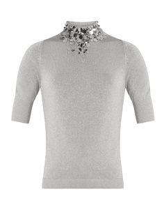 DELPOZO Embellished-Neck Knit Top. #delpozo #cloth #top