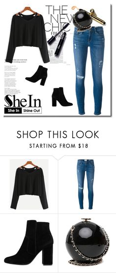 """""""new shein contest black t-shirt please join here girls"""" by dressing-is-a-way-of-life ❤ liked on Polyvore featuring Frame Denim and MANGO"""