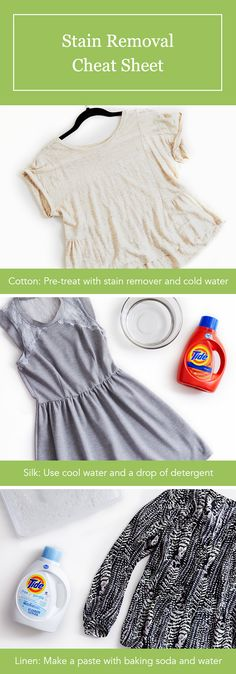 Summer stain removal guide. Get spills and splatters out of clothes before they set in with our tips for cotton, silk and linen.