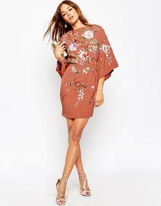 Image 4 ofASOS PETITE Embroidered Kimono Sleeve Mini Dress