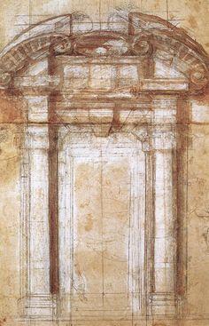 Michelangelo, Study for the Porta Pia, c. 1561