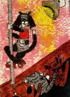 """CAT ACEO ORIGINAL """"PoleCat"""" poledancer BadCats Cat-Toon mixed media cartoon  """"PoleCat"""" - our BadCat poledance performs her most famous dance while her customers look on. for sale"""