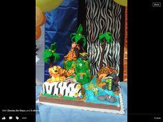 My fondant cake made for my grandson's first birthday (safari theme)